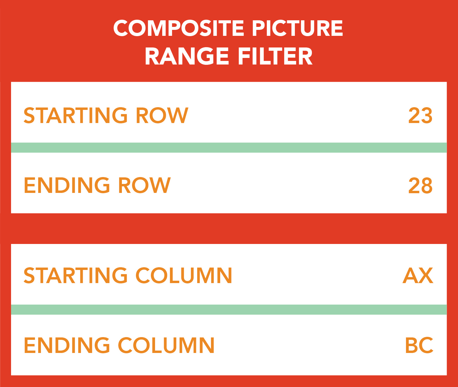 Filter tools allow user to select portion of floor for composite picture to reduce file size and processing time.