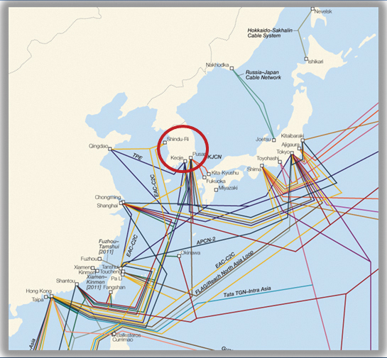 Figure 3: Map of submarine cables serving Busan