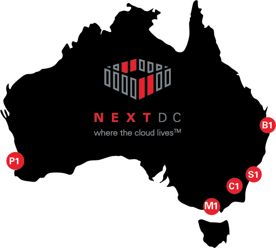 Figure 4. NEXTDC's current footprint: 40+ MW IT capacity distributed across Australia