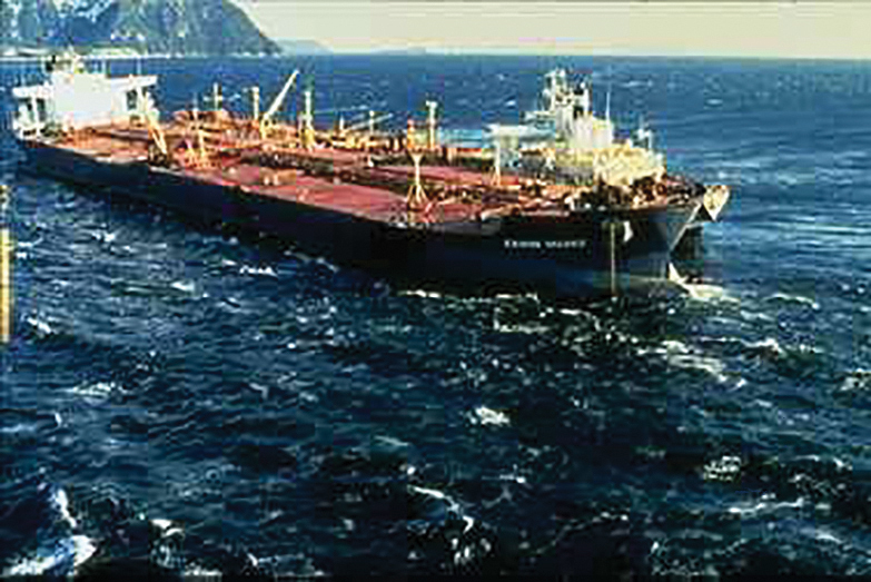 Figure 2. Shortly after leaving the Port of Valdez, the Exxon Valdez ran aground on Bligh Reef. The picture was taken three days after the vessel grounded, just before a storm arrived. Photo credit: Office of Response and Restoration, National Ocean Service, National Oceanic and Atmospheric Administration [Public domain], via Wikimedia Commons.