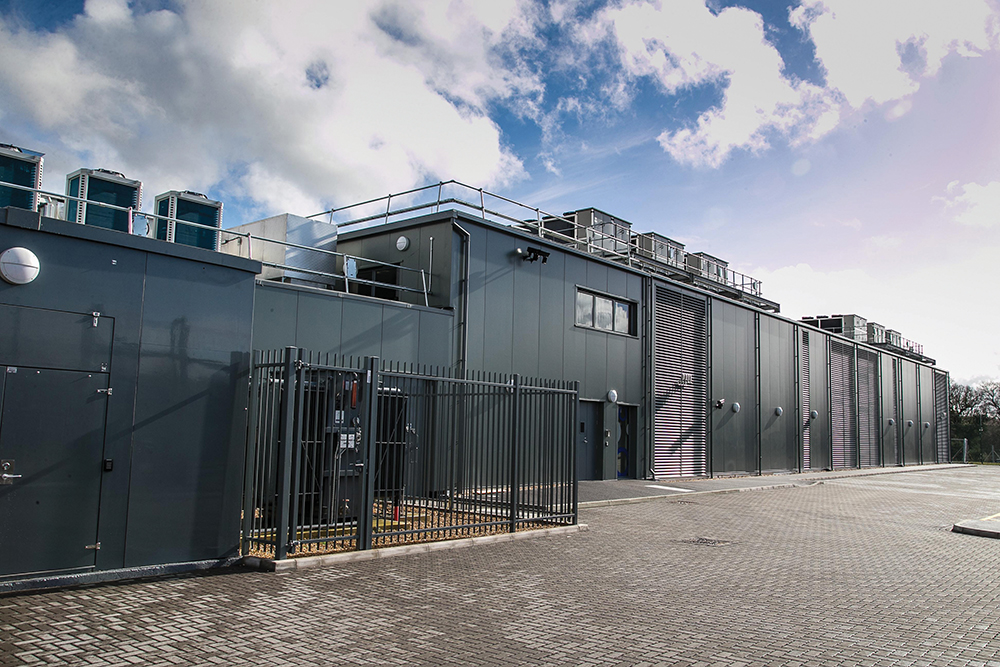 Figure 3. Bladeroom's prefabricated modular data center uses direct air with DX and evaporative cooling.