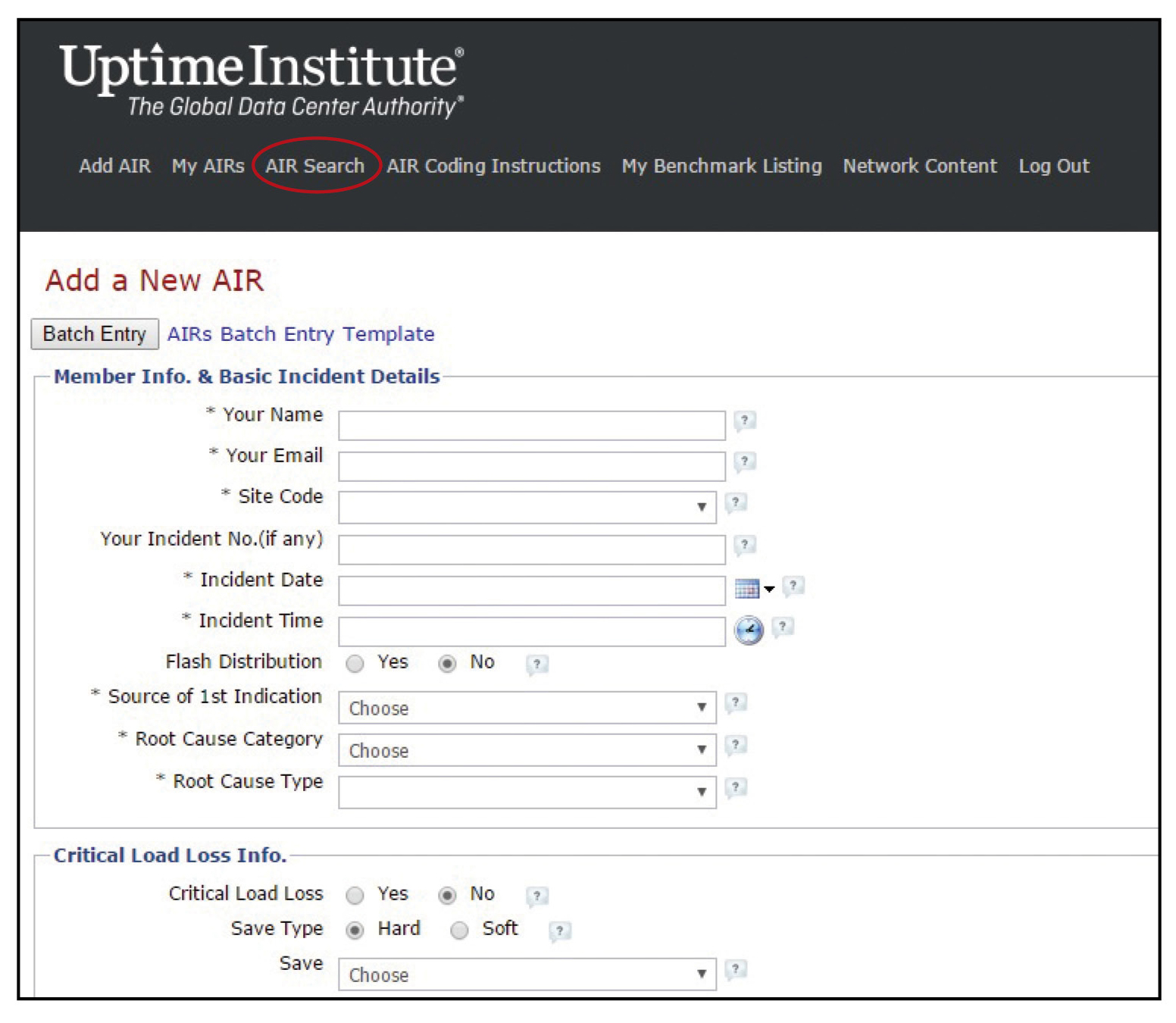"Figure 1. The page where members regularly go to submit an AIR. The circled link takes you directly to the ""AIR Search"" page."